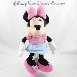 Peluche Minnie DISNEYLAND PARIS Tee shirt rose jupe bleue Disney 33 cm