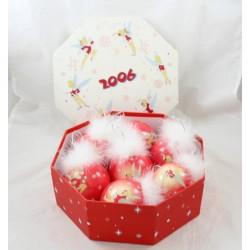 Box bolas de Navidad DISNEY STORE hada tinkering plumas rojas 2006