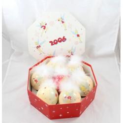 Box bolas de Navidad DISNEY STORE hada campana beige plumas 2006