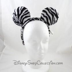 Serre-tête Mickey DISNEYLAND PARIS oreilles de Mickey zébré blanc noir Disney