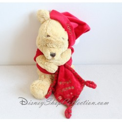 Peluche Winnie l'ourson DISNEY STORE My first Christmas Noël 2007 mouchoir