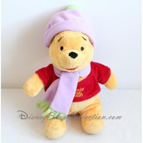 b49d8dd592d6 Peluche Winnie l ourson DISNEY NICOTOY bonnet écharpe violet 30 cm ...