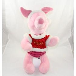 Peluche Porcinet DISNEY STORE Noël Piglet rouge rose Christmas 40 cm