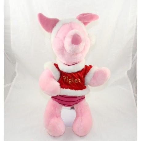 Peluche Piglet DISNEY STORE Christmas Piglet red pink Christmas 40 cm