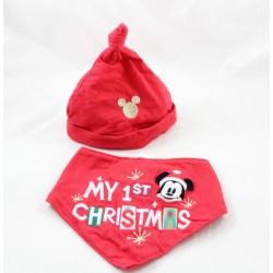 Bib bandana y sombrero Mickey DISNEY STORE Navidad bebé Mi primera Navidad