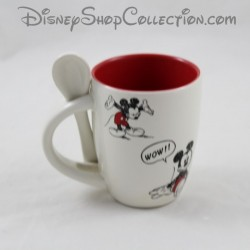 Espresso coffee cup and his spoon DISNEYLAND PARIS Mickey red beige ceramic Disney 7 cm