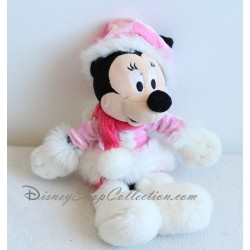 Peluche Minnie DISNEYLAND PARIS manteau rose fourrure blanche 29 cm