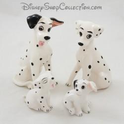 Figurine céramique chien DISNEY Les 101 Dalmatiens Pongo, Perdita et 2 chiots