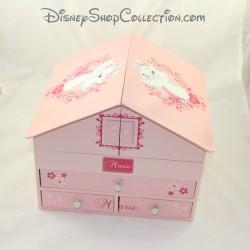 Caja de papelería marie gato DISNEY La casa Aristochats en madera rosa 20 cm