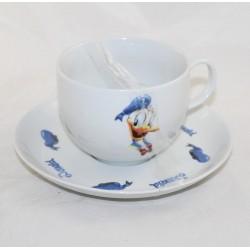 Set bowl - saucer Donald DISNEYLAND PARIS white blue paint 20 cm