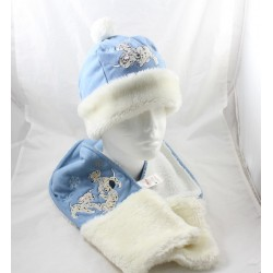 Ensemble bonnet & écharpe DISNEY STORE Les 101 dalmatiens bleu blanc 7-12 ans