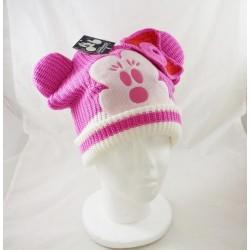 Minnie DISNEYLAND PARIS adult bonnet in pink and white wool