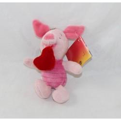 Porte clés peluche Porcinet DISNEY STORE coeur rouge 14 cm