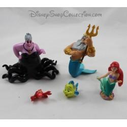 Un montón de figuras King Tritón, Ariel, Ursula DISNEY STORE El juego de pvc de sirena pequeña