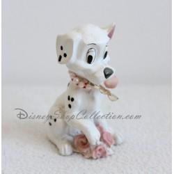 Figurine résine chien DISNEY Les 101 Dalmatiens rose fleurs