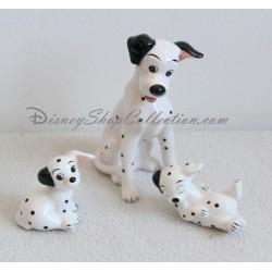 Figurine céramique chien DISNEY Les 101 Dalmatiens Pongo et 2 chiots