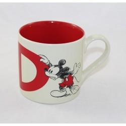 Taza Mickey DISNEYLAND PARIS letra D taza de cerámica beige rojo