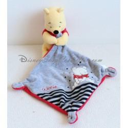 Doudou Winnie l'ourson NICOTOY rayures étoiles Winnie mouchoir gris et rouge Disney