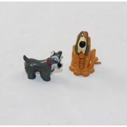 Lot de 2 figurines La Belle et le clochard DISNEY chien Jock et César pvc