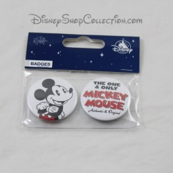 Set de 2 badges DISNEYLAND PARIS Mickey badge blanc Disney 4 cm