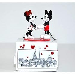 Boite à bijoux musicale DISNEYLAND PARIS Mickey et Minnie Paris je t'aime 18 cm