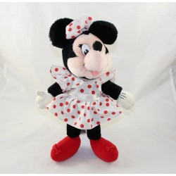 Peluche Minnie DISNEY applause vintage robe blanche pois rouge 34 cm