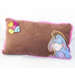 Rectangle cushion Bourriquet DISNEY Winnie the brown pooh wool flowers 42 cm