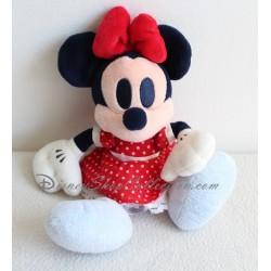 Peluche Minnie DISNEY STORE robe rouge pois blanc yeux bleus 23 cm