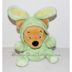 Peluche Winnie l'ourson DISNEY STORE lapin de paques vert 19 cm