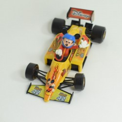 Figurine Mickey BURAGO voiture de course jaune Formule 1 Racing 1/24