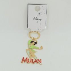 Porte clés Mulan DISNEY PRIMARK métal doré vert 10 cm