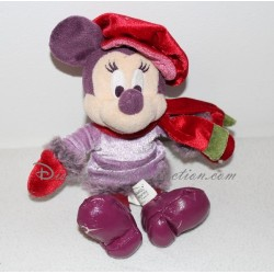 Peluche Minnie DISNEYLAND PARIS manteau violet rouge fourrure 22 cm