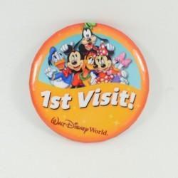 Badge 1st visit WALT DISNEY WORLD Mickey et ses amis première visite orange 7 cm
