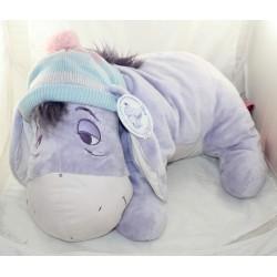 Peluche XXL donkey Bourriquet DISNEY NICOTOY Eeyore's Little Moments nightcap 61 cm