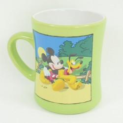 Mickey Mug and Pluto DISNEY STORE green white ceramic cup 12 cm