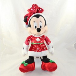 Cuddly Minnie DISNEYLAND PARIS Mother Christmas dress red green 37 cm