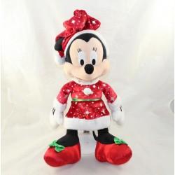Cuddly Minnie DISNEYLAND PARIS Mother Christmas dress red green 37 cm