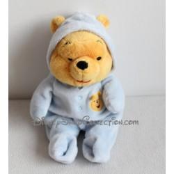 Peluche Winnie l'Ourson DISNEY NICOTOY grenouillère bleu pyjama 30 cm