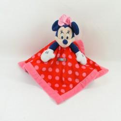 Doudou plat Minnie DISNEY STORE carré rouge pois rose 34 cm