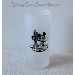 Glass Mickey WALT DISNEY STUDIOS black white camera 13 cm