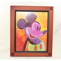 Cadre bois Mickey WALT DISNEY pop art peinture marron 8 x 10