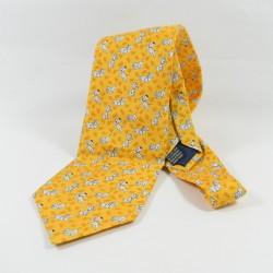 Empate 101 dálmatas DISNEYLAND PARIS cachorros de hombre amarillo 100% seda