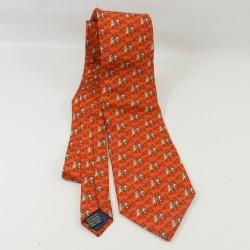 Tie Tic y Tac DISNEYLAND PARIS naranja ardilla marrón hombre 100% seda