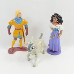 Lot de 3 figurines Le Bossu de Notre Dame DISNEY Esmeralda, Phoebus et Djali