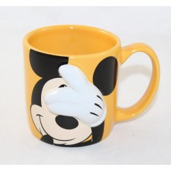 Mug relief Mickey Mouse DISNEY STORE yellow cache cache 10 cm