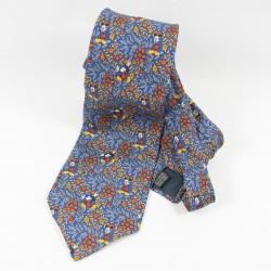 Mickey Mouse DISNEYLAND PARIS flowery blue man 100% silk tie