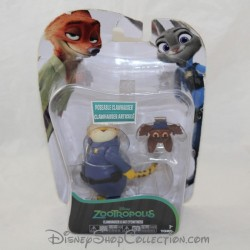 Set de figurine TOMY Disney Zootopie Clawhauser et la chauve souris pvc 7 cm