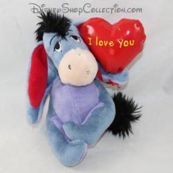Peluche Bourriquet NICOTOY Disney coeur I love you assis 15 cm