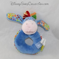 Rattle donkey Bourriquet DISNEY NICOTOY blue flowers bell 13 cm