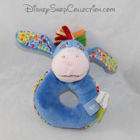 Rattle donkey Bourriquet DISNEY NICOTOY blue flowers bell 13 cm